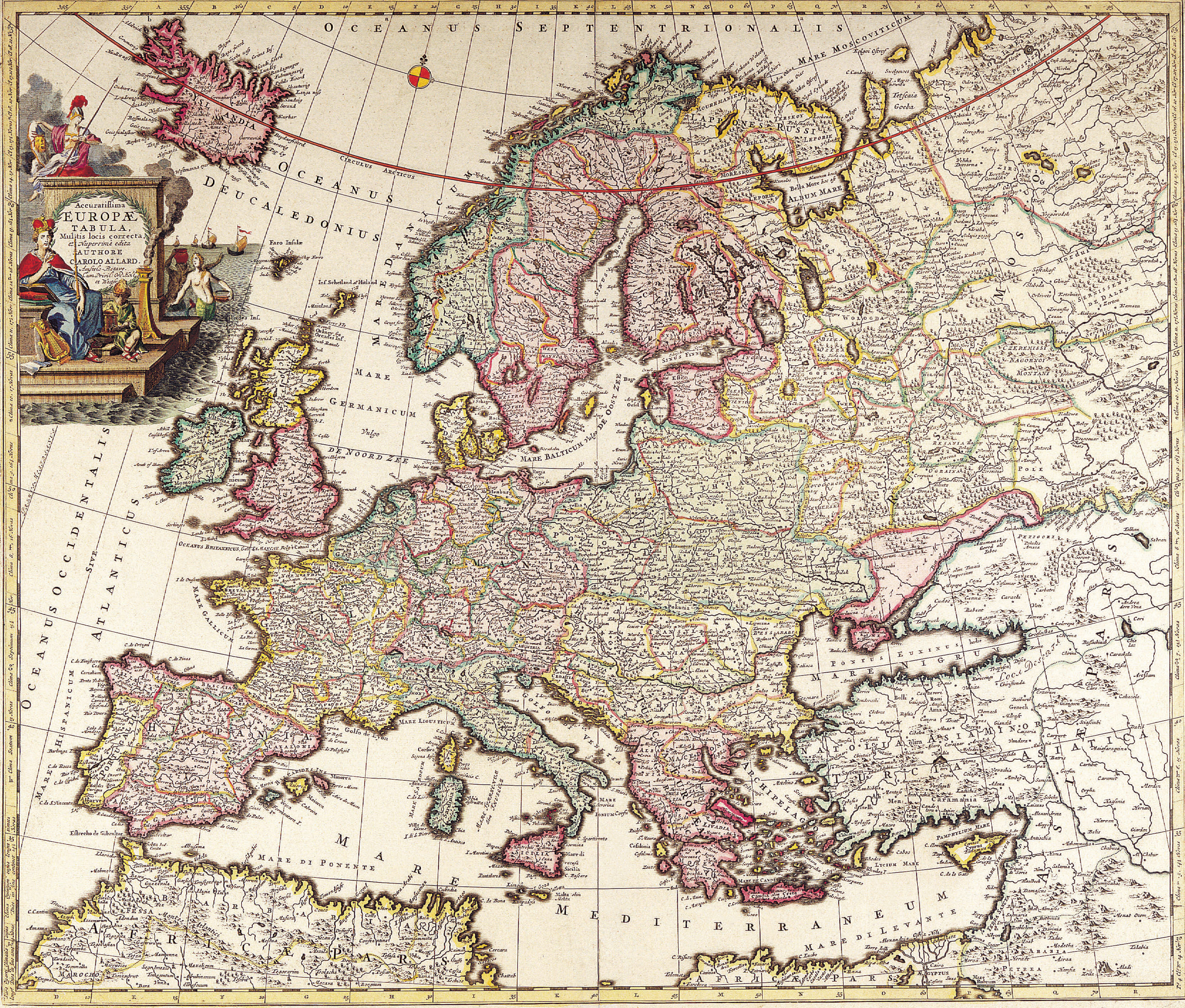 Antique Maps of the WorldMap of EuropeCarl Allardc 1700 Looking Through The