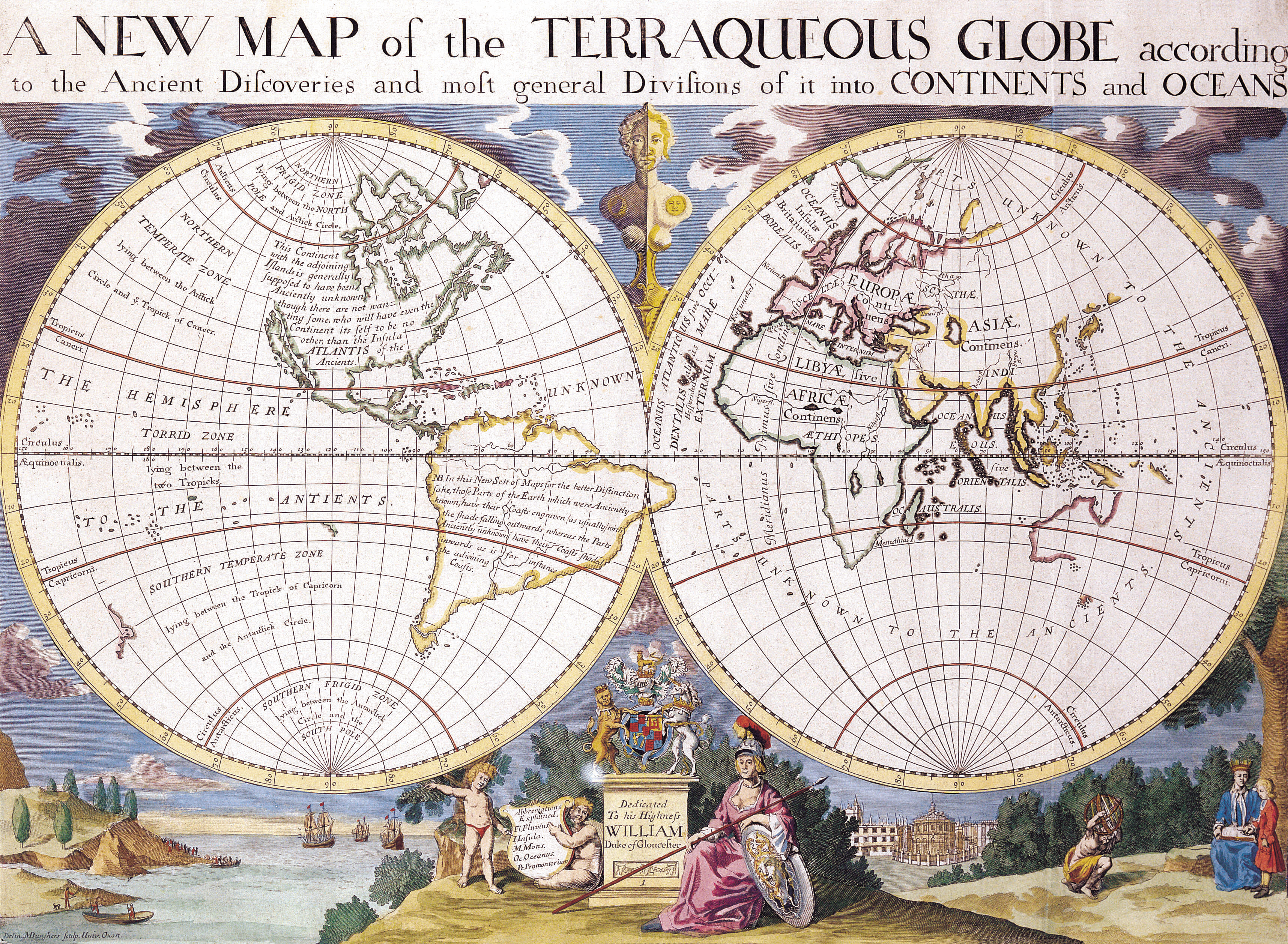 Antique Maps of the WorldMap of the WorldEdward Wellsc 1700 Looking Through