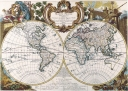 Antique Maps of the WorldDouble Hemisphere MapGeorge Louis Le Rougec 1744
